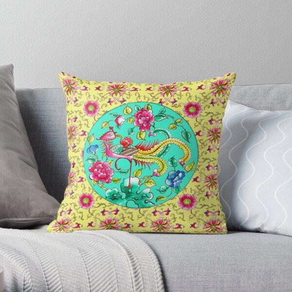 Peranakan Pattern: Emerald Throw Pillow