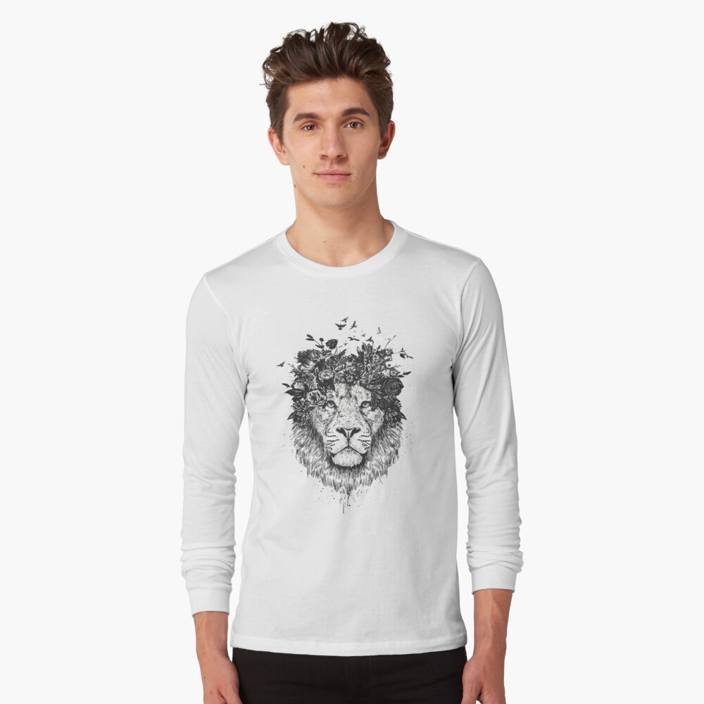 Floral lion (b&w) Long Sleeve T-Shirt