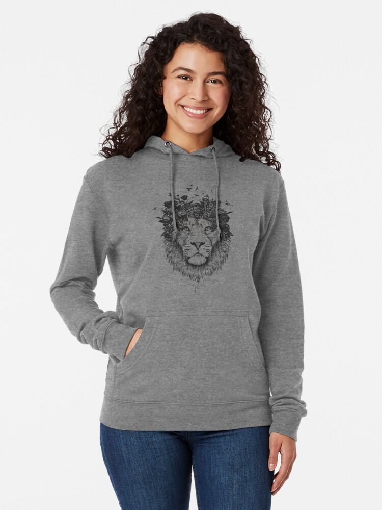 Alternate view of Floral lion (b&w) Lightweight Hoodie