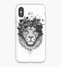 Lion floral (b & w) Coque et skin iPhone
