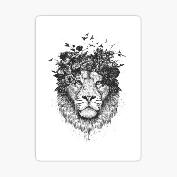 Floral lion (bw) Sticker