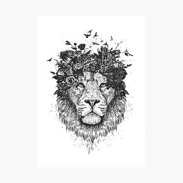 Floral lion (b&w) Photographic Print