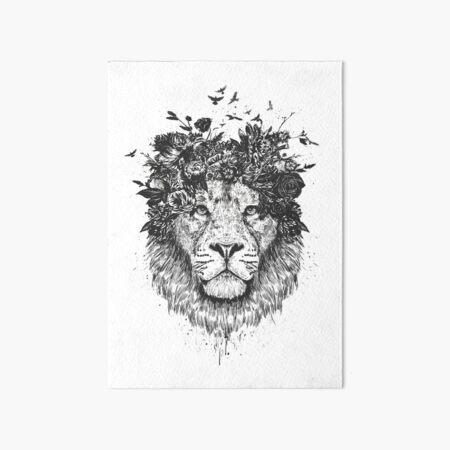 Floral lion (bw) Art Board Print