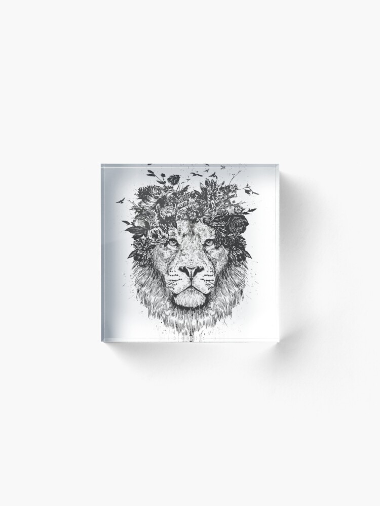 Alternate view of Floral lion (b&w) Acrylic Block