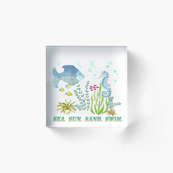 Sea Sun Sand Swim Acrylic Block