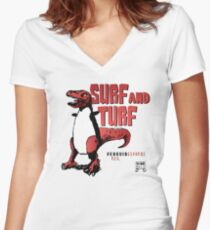 Surf and Turf Women's Fitted V-Neck T-Shirt