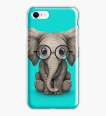 Cute Baby Elephant Calf with Reading Glasses on Blue iPhone Case/Skin