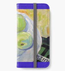 Still Life Painting of Granny Smith Apples on a Plate iPhone Wallet