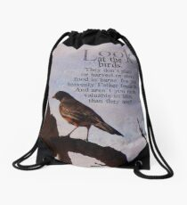 Matthew 6:26 scripture Drawstring Bag