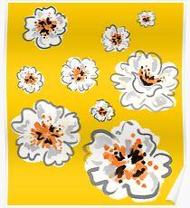 Watercolour Flower Print - Yellow Poster