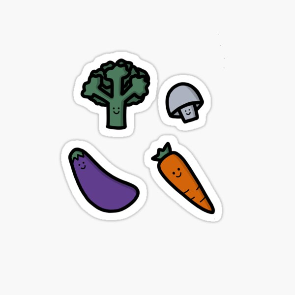 Happy Veggies Illustration Sticker