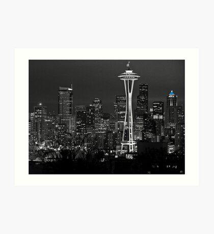 Black & Blue Seattle. Art Print