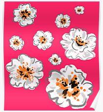 Watercolour Flower Print - Pink Poster