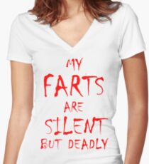 Silent But Deadly Women's Fitted V-Neck T-Shirt