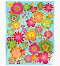 Champs de fleurs tout en couleurs Poster