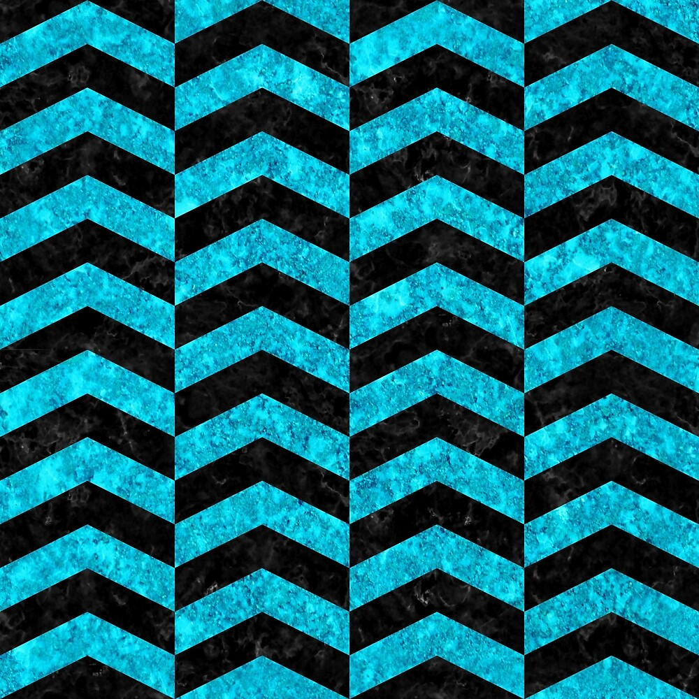 CHEVRON2 BLACK MARBLE AND TURQUOISE MARBLE by johnhunternance