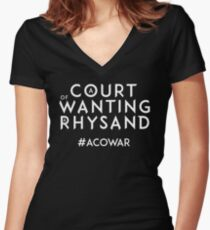 ACOWAR - A Court of Wanting a Rhysand - White Text Women's Fitted V-Neck T-Shirt