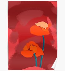 Abstract Poppy Flowers Poster
