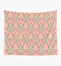 Pink Baphomet Damask Wall Tapestry