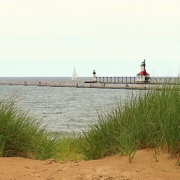 St. Joseph Lighthouses and Sailboat by anitahiltz
