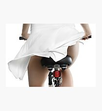 Young Woman in Dress Riding Bicycle art print Photographic Print