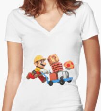Brico mario Women's Fitted V-Neck T-Shirt