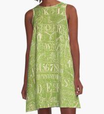 White Script on Green A-Line Dress