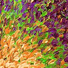 FOLLOW THE CURRENT 3, Bold Colorful Abstract Acrylic Painting Ocean Waves Purple Green Orange Splash Ombre Fine Art by EbiEmporium
