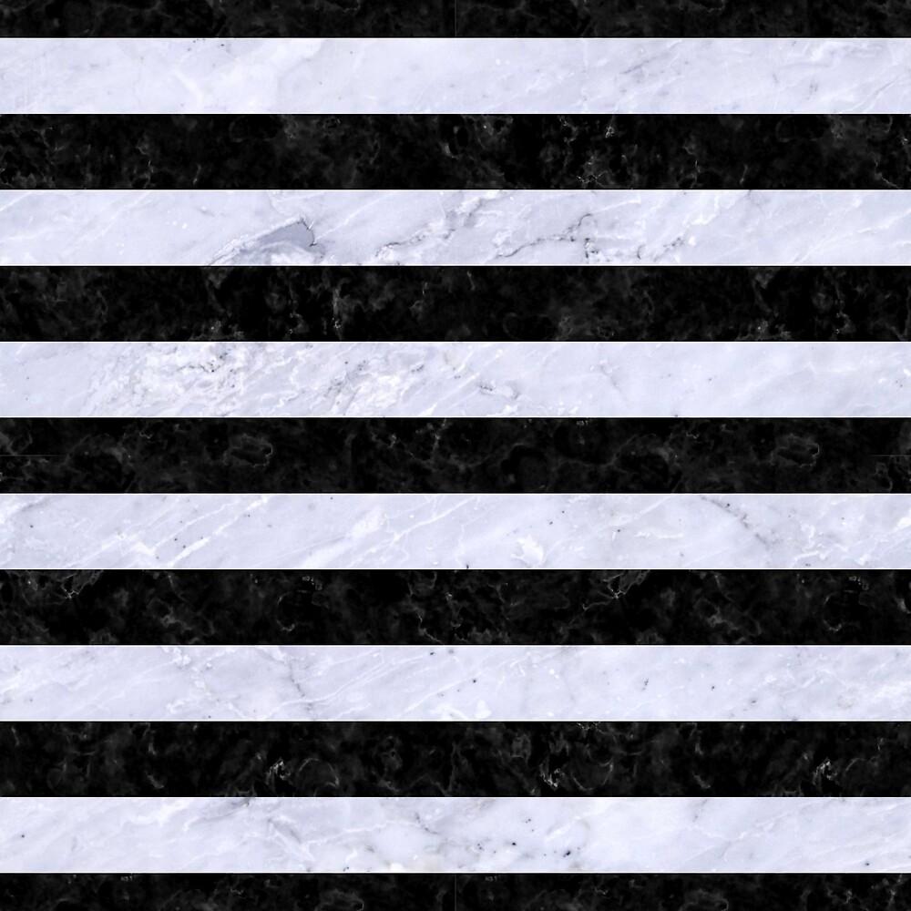 STRIPES2 BLACK MARBLE AND WHITE MARBLE by johnhunternance