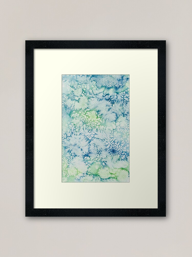 Alternate view of Blue, Green, Turquoise Abstract Watercolor Design  Framed Art Print