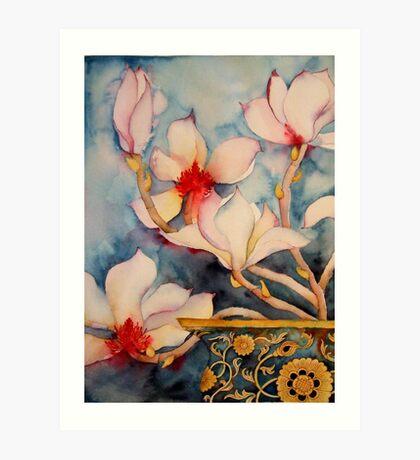Magnolias in Vintage Vase 'Still Life' © Patricia Vannucci 2008 Art Print