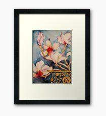 Magnolias in Vintage Vase 'Still Life' © Patricia Vannucci 2008 Framed Print