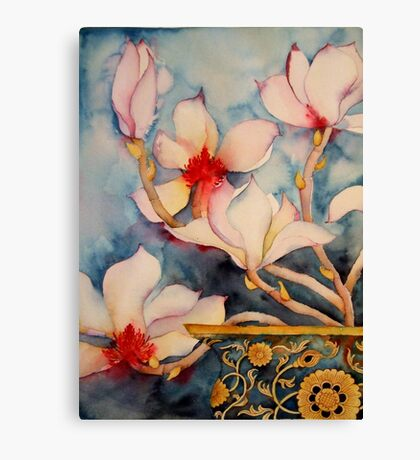 Magnolias in Vintage Vase 'Still Life' © Patricia Vannucci 2008 Canvas Print