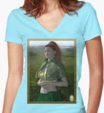 Dymphna-Celtic Princess Women's Fitted V-Neck T-Shirt