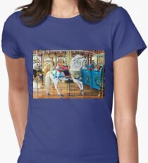 White Carousel Horse Womens Fitted T-Shirt