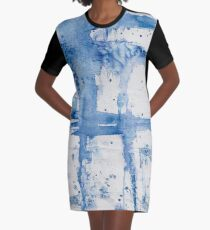 Blue Watercolor Streak ~ Abstract Painting Graphic T-Shirt Dress