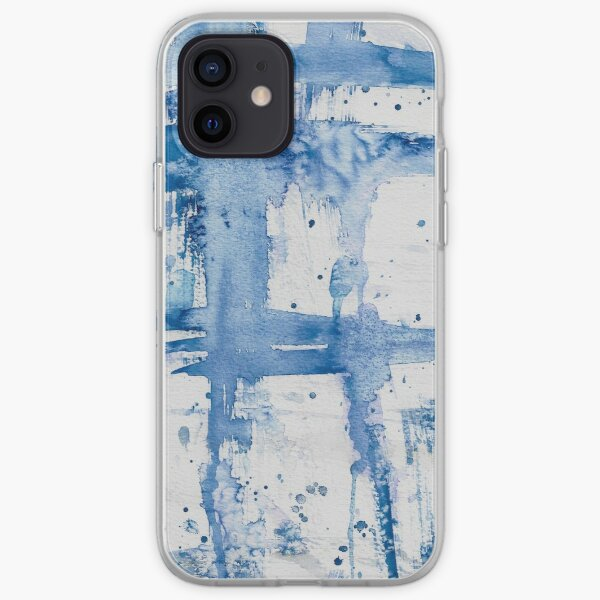 Blue Watercolor Streak ~ Abstract Painting iPhone Soft Case