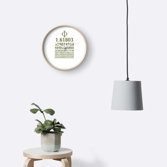 1618 Phi Golden Ratio Symbol Sacred Spiral Math Lovers Clocks By