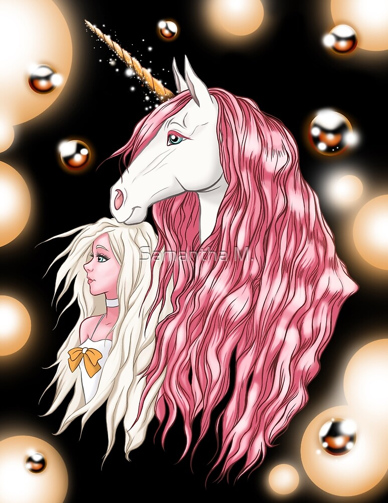 Pink Girl and Unicorn (Print Version) by smack2d