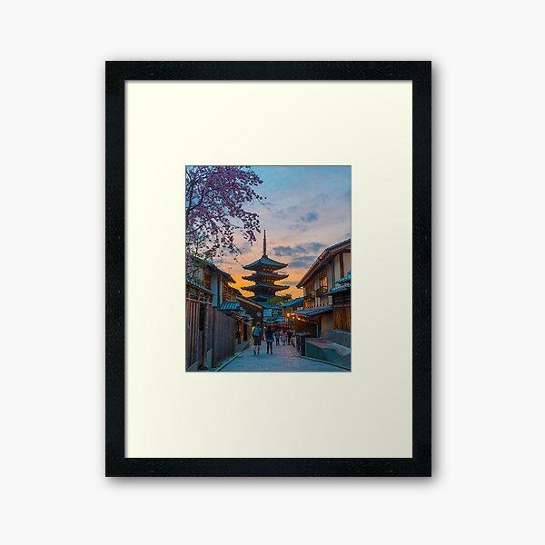 Kyoto Temple Sunset Framed Art Print