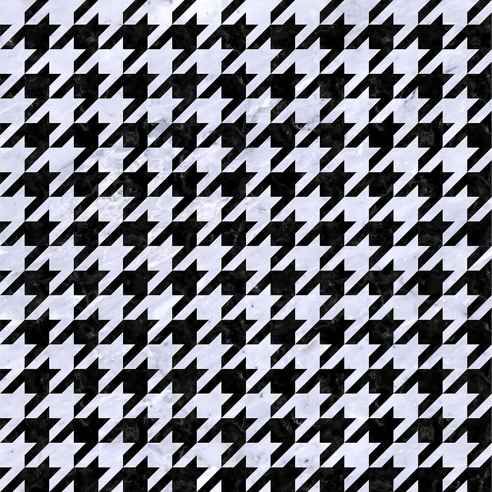 HOUNDSTOOTH1 BLACK MARBLE AND WHITE MARBLE by johnhunternance
