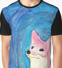 Space Fox (Black Background) Graphic T-Shirt