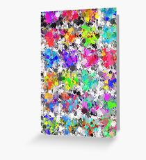 colorful psychedelic splash painting abstract texture in pink blue purple green yellow red orange Greeting Card