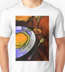 Lemon, Glass and Fork with some Gold and Orange T-Shirt
