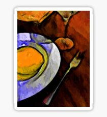 Lemon, Glass and Fork with some Gold and Orange Sticker