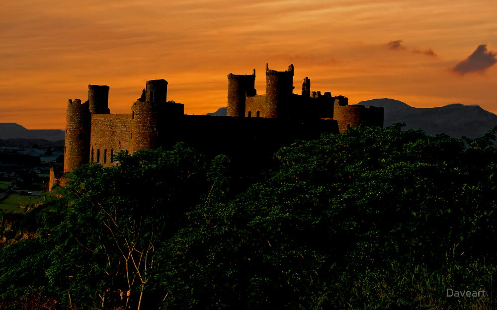 Sunset  Harlech castle by Daveart