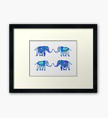 HAPPY ELEPHANTS - WATERCOLOR BLUE PALETTE Framed Print