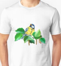 Yellow Bird with Black Cap on a Leafy Green Tree Branch T-Shirt