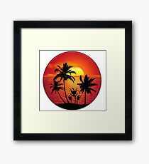 Tropical Ocean Sunset with Palm Trees Framed Print