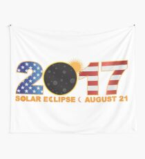 2017 Total Solar Eclipse Over USA Numeral Illustration Wall Tapestry